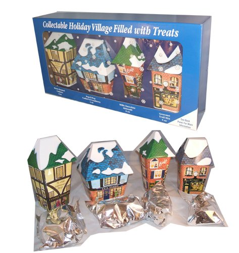 Christmas Holiday Village Vintage Collectible Gift Tins Filled with Nuts and Snacks