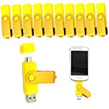 10pcs Rotatable 8GB OTG USB Flash Drive For Cell Phones & Tablet PCs (Yellow)