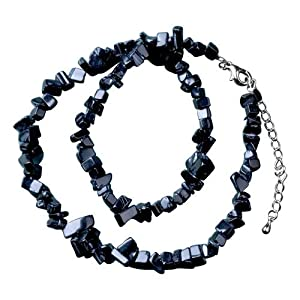 Pugster Classic Black Genuine Semi Precious Gemstone Onyx Nugget Chips Stretch Necklace For Women