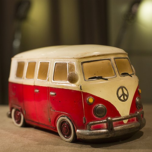 Amazlab VW Volkswagen T1 Red Camper Van LED Light : Car Bedroom Light / Nightlamp / Bedside Light / Desk Lamp - Retro Style in Red, Warm White Glow, USB or Battery Powered Lantern, 4 Hours Timer (Car Table Lamp compare prices)