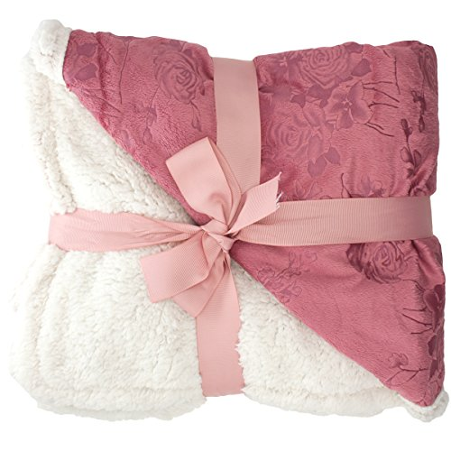 "Cheapest Prices! Floral Embossed Sherpa Throw Blanket 50"" x 60"" Reversible Textured Fuzzy ..."