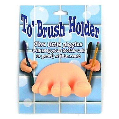 Cute Toe Tooth Brush Holder With Suction Cup
