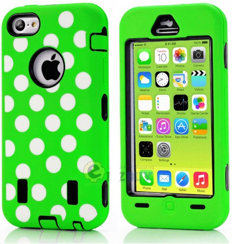 Mylife (Tm) Black + Lime Green Polka Dotted Style 3 Layer (Hybrid Flex Gel) Grip Case For New Apple Iphone 5C Touch Phone (External 2 Piece Full Body Defender Armor Rubberized Shell + Internal Gel Fit Silicone Flex Protector + Lifetime Waranty + Sealed In