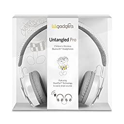 LilGadgets Untangled Pro Premium Children\'s Wireless Bluetooth Headphones with SharePort - White
