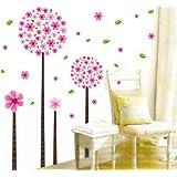 La chambre des enfants rose fleur de pissenlit arbre décalque de mur romantique salon chambre Gr.60x40cm
