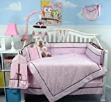 SOHO Pink Mini Roses Minky Chenille Crib Nursery Bedding Set 14 pcs thumbnail