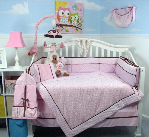 SOHO Pink Mini Roses Minky Chenille Crib Nursery Bedding Set 14 pcs image