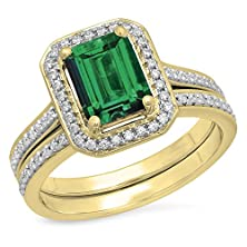 buy 3.20 Carat (Ctw) 10K Yellow Gold Emerald & Round Cut Cubic Zirconia Engagement Ring Set (Size 5)