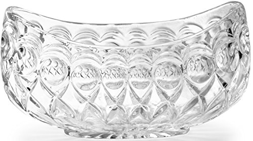Circleware Italian Cut Oval Decorative Glass Fruit and Salad Bowl, 7.5x4', Limited Edition Glassware Serveware