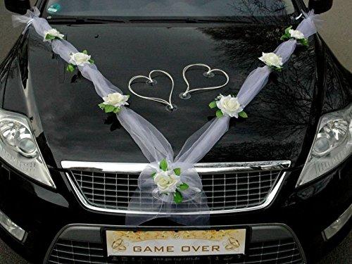 ... HERZEN Auto Schmuck Braut Paar Rose Deko Dekoration Autoschmuck