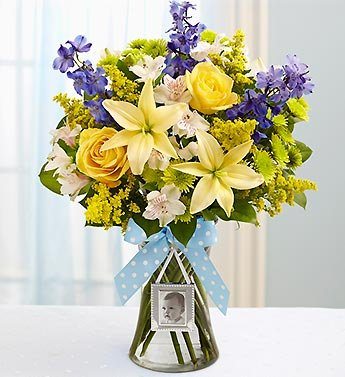 Sweet Baby Boy Arrangement - Small front-309110