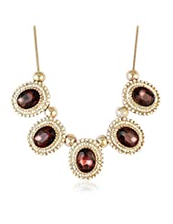 Faux Stone Bib Necklace Maroon Color Necklace By Sarah | Fashion Jewellery - B00TYAMLGS