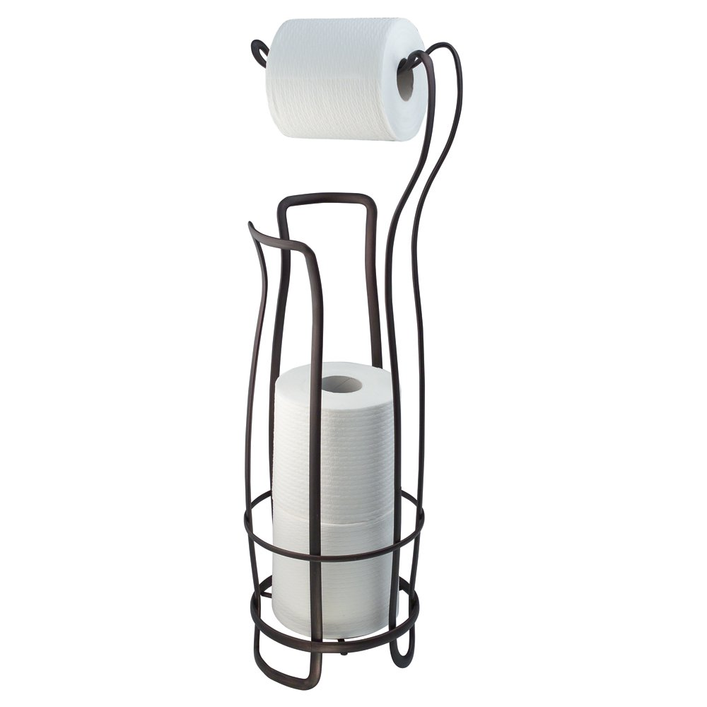 Toilet tissue holder stand roll reserve storage bronze metal home bathroom ebay - Toilet paper roll stand ...