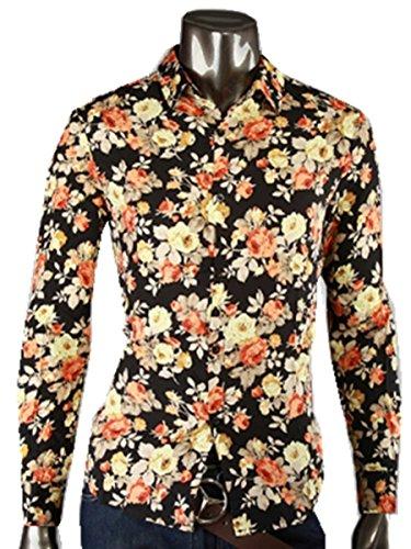 Easy Vintage Korean Men Floral Print Patched Slim Fit Dress Shirts Long Sleeved