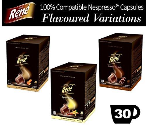 Choose 30x Nespresso Compatible Variations Coffee Capsules - Vanilla Caramel Chocolate by Café Réne