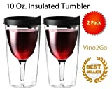 Vino2Go 2 Pack Double Wall Acrylic Tumbler with Black Lids