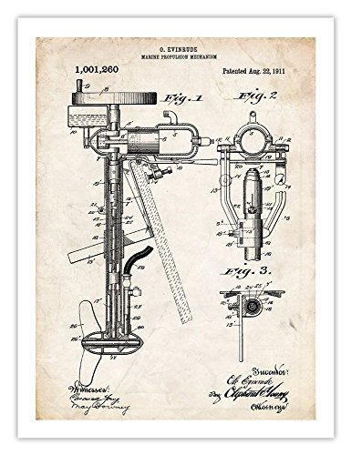 EVINRUDE OUTBOARD BOAT MOTOR INVENTION PRINT 1911 US PATENT ART RETRO TROLLING FISHING FISH INTERNAL COMBUSTION ENGINE GIFT (Motor Poster compare prices)