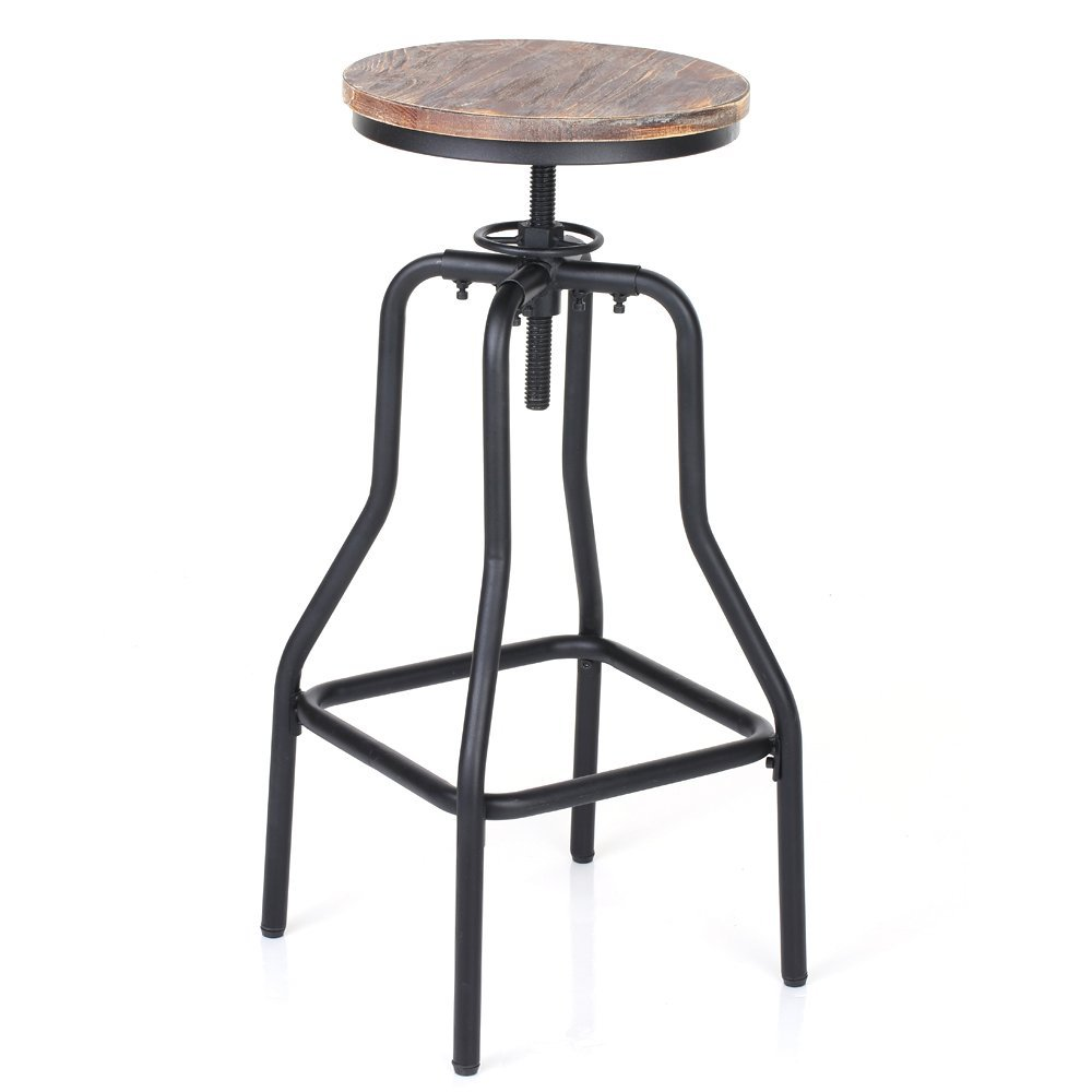 Ikayaa Adjustable Height Swivel Bar Stool Chair Kitchen
