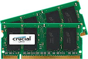 Crucial 4GB Kit (2GBx2) DDR2 667MHz (PC2-5300) CL5 SODIMM 200-Pin Notebook Memory Modules CT2KIT25664AC667 / CT2CP25664AC667