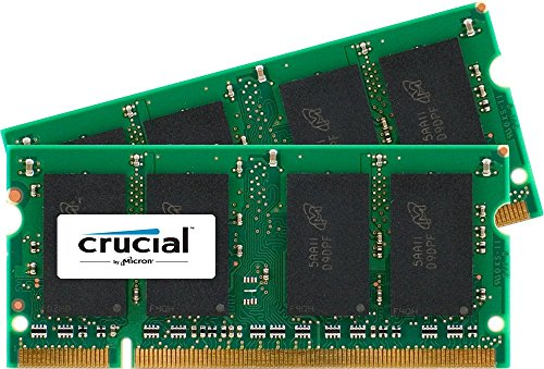 Crucial 4GB Kit (2GBx2) DDR2 667MHz (PC2-5300) CL5 SODIMM 200-Pin Notebook Memory Modules CT2KIT25664AC667 / CT2CP25664AC667 (Ddr Pc2 5300 compare prices)