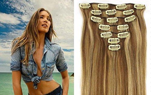 """Echthaar Haarverdichtung Clip in Remy Haar Extensions Erganzungsset 15""""/70g/7pcs/set #12/#613-leicht goldbraun/hellste Blondine"""