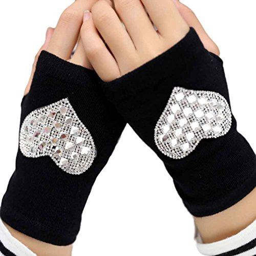 AMA(T (Adult Short Fingerless Black Gloves)