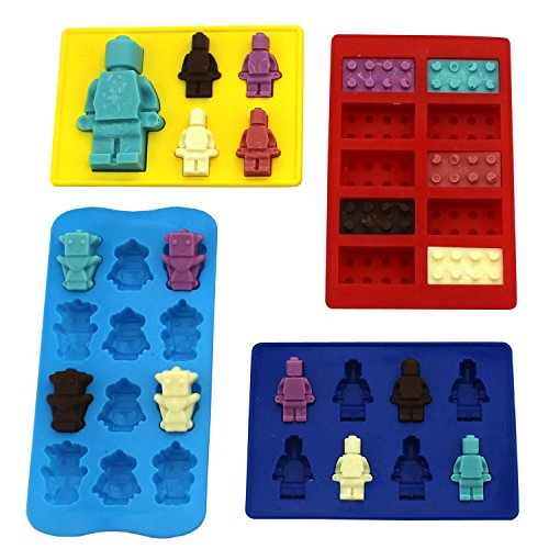 4 Candy Molds and Ice Cube Trays - Lego Building Bricks and Figure Molds for Lego Lovers