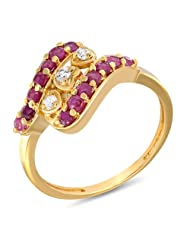 Mahi Ruby & CZ 24K Gold Plated Fashion Finger Ring For Women FR1100306G