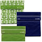 Lunchskins 3pk Reusable Sandwich Bags: Green Key Navy Solid Green Solid
