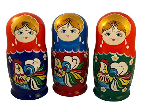 The Rooster Nesting Dolls - Wooden Russian Matryoshka Doll - Hand-painted Gift - 5 pc Set - 6