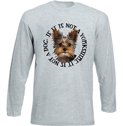 Teesquare1st YORKSHIRE TERRIER ONLY DOG Tshirt da Uomo a maniche lunghe grigie Size XXLarge