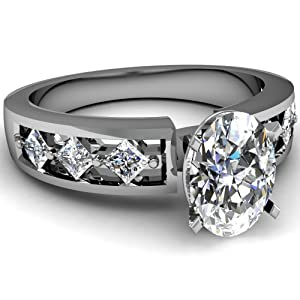 1.20 Ct Oval Shaped SI2-D Diamond Channel Set Kite Style Engagement Ring GIA Certificate # 2151148975