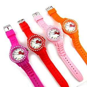4 designer watches 'Hello Kitty'pink red orange.