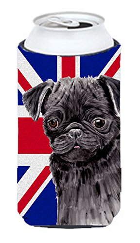 Pug With English Union Jack British Flag Tall Boy Koozie Hugger Sc9823Tbc