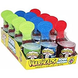 WARHEADS SOUR DIPPER SWEET LOLLIPOP With SOUR POWDER 1.5 oz Each ( 12 in a Pack )