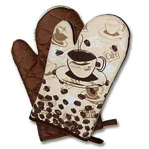 """2 x (= Paar) """" COFFEE TIME """" Farbe : Braun - wunderschönes Kaffee - Haus Motiv - Backhandschuhe Handschuhe Ofenhandschuhe Grillhandschuhe - Hochwertig , 100% Baumwolle , eine schöne kleine Geschenk - Idee - NEU"""