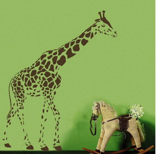 Animal Wild Zoo Giraffe Wall Decal Sticker Living Room Stickers Vinyl Removable Wide 95cm High 120 Cm Brown Color - 1