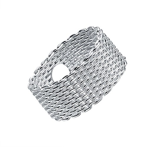 Silver Circular Weave Rings Fashion Women Rings HuaForCity® Perfect Gift For Girls Popular Beautiful Rings Jewelry Accessories