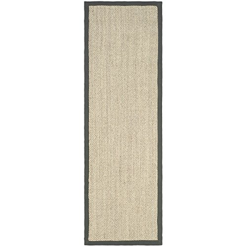 Safavieh Natural Fiber Collection NF443B Hand Woven Marble and Grey Jute Runner, 2 feet 6 inches by 14 feet (2'6