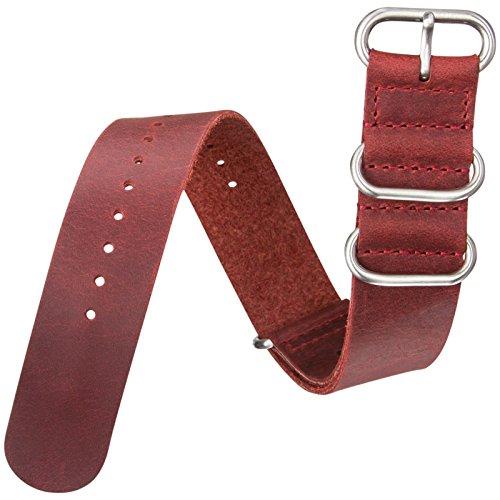 Cinturino orologio ZULUDIVER® Vera pelle Militare ZULU Rosso 22mm
