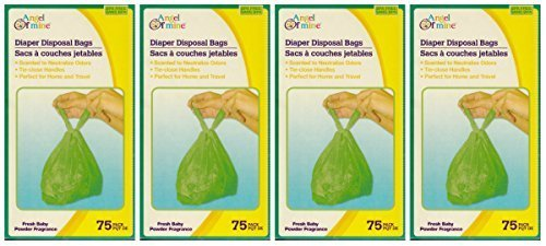 Angel of Mine: Diaper Disposal Sacks Bags (Scented to Neutralized Odors) 75 Count Per Box (Four Boxes) - 1
