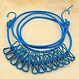 KissH クリップ付き洗濯ロープ 伸縮可能 12クリップ付き 防風 弾力性 185cm ブルー