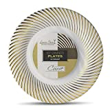 Laura Stein Designer Tableware Premium Heavyweight 10'' Inch White And Gold Rim Plastic Party & Wedding Dinner Plates Curve Series Disposable Dishes Pack of 20 Plates