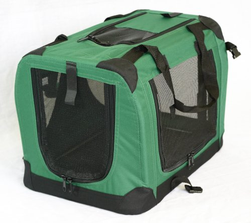 Portable Soft Pet Carrier or Crate or Kennel for Dog, Cat, or other small pets. Great for Travel, Indoor, and Outdoor (Moss Green, Large: 28″x20″x20″)