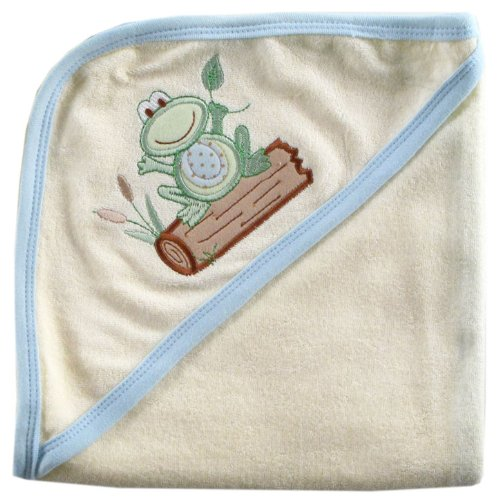 Hudson Baby Touched by Nature Organic Cotton Hooded Towel, Blue