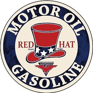 Amazon.com: Motor Oil Gasoline Red Hat Gas Station Sign Garage Art