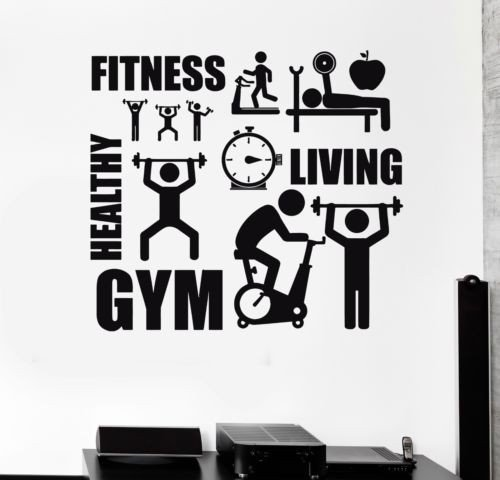 Sport Motivation Fitness Gym Wall Mural Entertainment Vinyl Wall Sticker Home Decor Wall Decals Stickers Room Decoration wall Art Removable Wallpaper