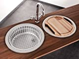 Mebasa Küchenspüle, Rundspüle, Einbauspüle, Spüle in Edelstahl, 4tlg. Set, ohne Armatur