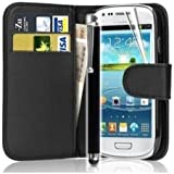 Mega.Deals4U® - PU Leather Flip Card Wallet Case For SAMSUNG GALAXY TREND GT S7560 S7560M INCLUDING STYLUS PEN + SCREEN PROTECTOR + CLEANING CLOTH (Black)