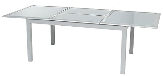 Table extensible verre trempé coloris silver mat - Dim : L.160/240 x P.100 x H.75 cm -PEGANE-